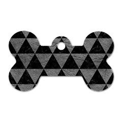 Triangle3 Black Marble & Gray Leather Dog Tag Bone (two Sides)