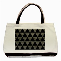 Triangle3 Black Marble & Gray Leather Basic Tote Bag (two Sides)