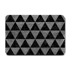 Triangle3 Black Marble & Gray Leather Small Doormat