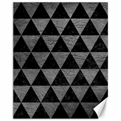 Triangle3 Black Marble & Gray Leather Canvas 11  X 14