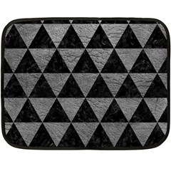 Triangle3 Black Marble & Gray Leather Double Sided Fleece Blanket (mini)