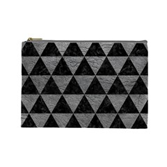 Triangle3 Black Marble & Gray Leather Cosmetic Bag (large)