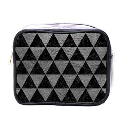 Triangle3 Black Marble & Gray Leather Mini Toiletries Bags