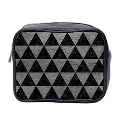 Triangle3 Black Marble & Gray Leather Mini Toiletries Bag 2 Side