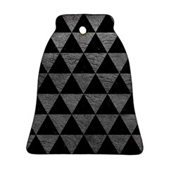Triangle3 Black Marble & Gray Leather Bell Ornament (two Sides)