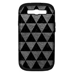 Triangle3 Black Marble & Gray Leather Samsung Galaxy S Iii Hardshell Case (pc+silicone)