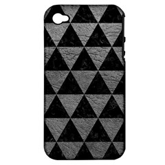 Triangle3 Black Marble & Gray Leather Apple Iphone 4/4s Hardshell Case (pc+silicone)