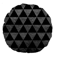 Triangle3 Black Marble & Gray Leather Large 18  Premium Round Cushions