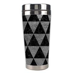 Triangle3 Black Marble & Gray Leather Stainless Steel Travel Tumblers