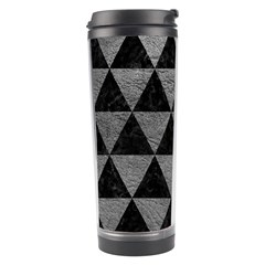 Triangle3 Black Marble & Gray Leather Travel Tumbler