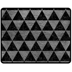 Triangle3 Black Marble & Gray Leather Double Sided Fleece Blanket (medium)