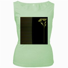 Gold Floral Art Nouveau Women s Green Tank Top