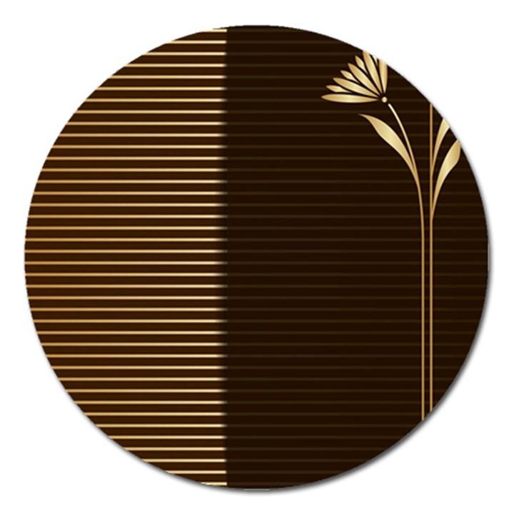 Gold floral art nouveau Magnet 5  (Round)