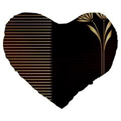 Gold Floral Art Nouveau Large 19  Premium Flano Heart Shape Cushions