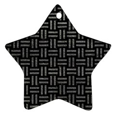Woven1 Black Marble & Gray Leather Ornament (star)