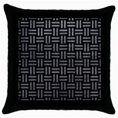 Woven1 Black Marble & Gray Leather Throw Pillow Case (black)