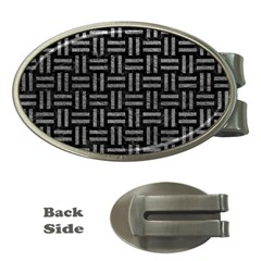 Woven1 Black Marble & Gray Leather Money Clips (oval)