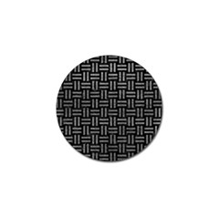 Woven1 Black Marble & Gray Leather Golf Ball Marker