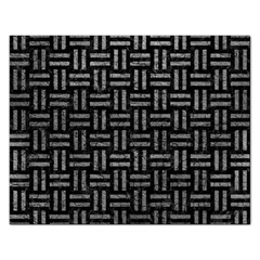 Woven1 Black Marble & Gray Leather Rectangular Jigsaw Puzzl