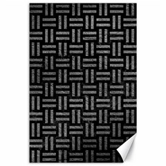 Woven1 Black Marble & Gray Leather Canvas 24  X 36