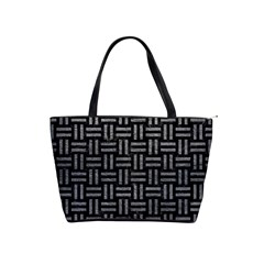 Woven1 Black Marble & Gray Leather Shoulder Handbags