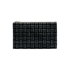 Woven1 Black Marble & Gray Leather Cosmetic Bag (small)