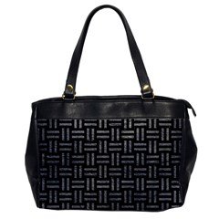 Woven1 Black Marble & Gray Leather Office Handbags