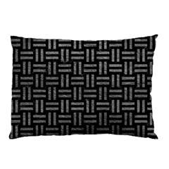 Woven1 Black Marble & Gray Leather Pillow Case (two Sides)