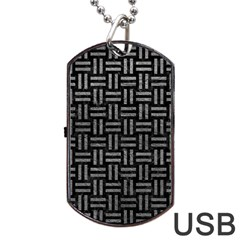 Woven1 Black Marble & Gray Leather Dog Tag Usb Flash (two Sides)