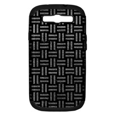 Woven1 Black Marble & Gray Leather Samsung Galaxy S Iii Hardshell Case (pc+silicone)