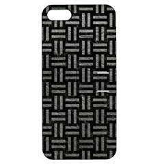 Woven1 Black Marble & Gray Leather Apple Iphone 5 Hardshell Case With Stand
