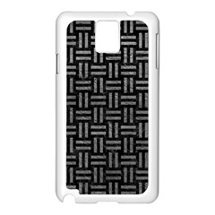 Woven1 Black Marble & Gray Leather Samsung Galaxy Note 3 N9005 Case (white)