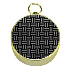 Woven1 Black Marble & Gray Leather Gold Compasses