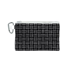 Woven1 Black Marble & Gray Leather Canvas Cosmetic Bag (s)