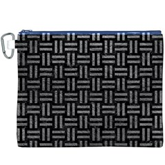 Woven1 Black Marble & Gray Leather Canvas Cosmetic Bag (xxxl)