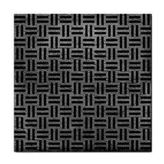 Woven1 Black Marble & Gray Leather (r) Tile Coasters