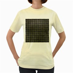 Woven1 Black Marble & Gray Leather (r) Women s Yellow T Shirt