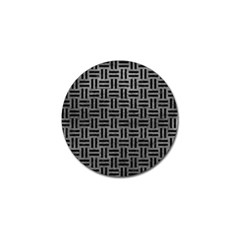 Woven1 Black Marble & Gray Leather (r) Golf Ball Marker
