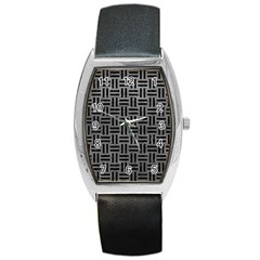 Woven1 Black Marble & Gray Leather (r) Barrel Style Metal Watch