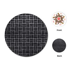 Woven1 Black Marble & Gray Leather (r) Playing Cards (round)