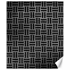 Woven1 Black Marble & Gray Leather (r) Canvas 8  X 10