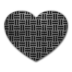 Woven1 Black Marble & Gray Leather (r) Heart Mousepads
