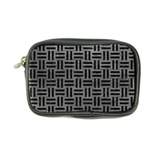 Woven1 Black Marble & Gray Leather (r) Coin Purse