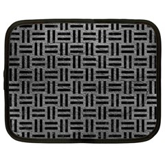 Woven1 Black Marble & Gray Leather (r) Netbook Case (xxl)