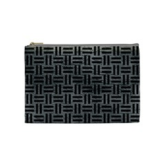 Woven1 Black Marble & Gray Leather (r) Cosmetic Bag (medium)