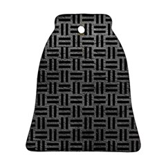 Woven1 Black Marble & Gray Leather (r) Bell Ornament (two Sides)