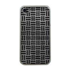 Woven1 Black Marble & Gray Leather (r) Apple Iphone 4 Case (clear)