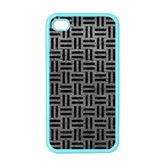 Woven1 Black Marble & Gray Leather (r) Apple Iphone 4 Case (color)