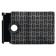 Woven1 Black Marble & Gray Leather (r) Apple Ipad 3/4 Flip 360 Case