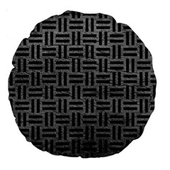 Woven1 Black Marble & Gray Leather (r) Large 18  Premium Round Cushions